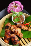 Estilo asiático, pratos quentes da carne - Fried Chicken Wings Foto de Stock Royalty Free