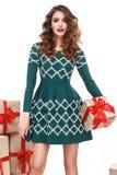 Estilo atractivo hermoso de la moda del regalo de la caja de la ropa de la mujer Imágenes de archivo libres de regalías