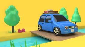 Estilo azul do carro da eco-família do carro com objeto na ponte de madeira sobre o córrego e muito natureza da árvore, concei ilustração do vetor