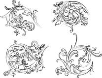 Estilo barroco da caligrafia do Rosette. Imagens de Stock