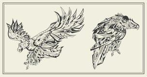 Estilo blanco y negro gráfico de Eagles de los pájaros Foto de archivo