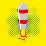 Estilo cómico Rocket Isolated On Background Imagenes de archivo