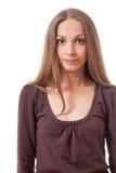 Estilo casual joven de la mujer aislado sobre blanco Foto de archivo libre de regalías