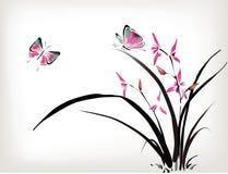 Orquídea e borboleta ilustração royalty free