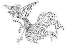 Estilo chinês de Phoenix para colorir Imagens de Stock