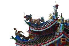 Estilo chinês chinês do telhado do dragão e da cisne foto de stock