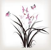 Orquídea y mariposa Imagen de archivo