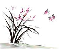 Orquídea y mariposa Imagen de archivo libre de regalías