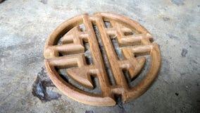 Estilo chino de madera de la teca que talla para el trabajo interior de la decoración Fotografía de archivo libre de regalías