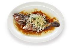 Estilo chino tratado con vapor de los pescados Imagenes de archivo