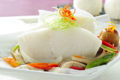 Estilo chino tratado con vapor de los pescados Fotografía de archivo