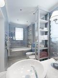 Estilo clássico do banheiro em tons azuis Imagem de Stock