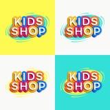 Estilo colorido determinado del logotipo de la tienda de los niños del vector libre illustration