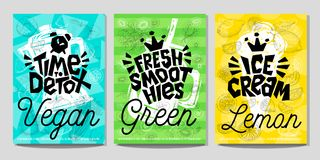 Estilo colorido do esboço do giz do vegetal de frutos do alimento das etiquetas do cartaz da etiqueta, batidos do suco Foto de Stock
