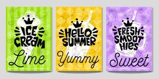 Estilo colorido do esboço do giz do vegetal de frutos do alimento das etiquetas do cartaz da etiqueta, batidos do suco Imagem de Stock Royalty Free