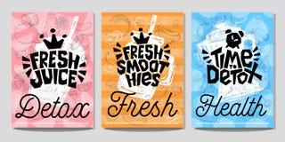 Estilo colorido do esboço do giz do vegetal de frutos do alimento das etiquetas do cartaz da etiqueta, batidos do suco Fotos de Stock