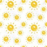 Estilo colorido do fundo do ornamento do verão do teste padrão sem emenda de Sun ilustração royalty free