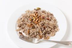 Estilo condimentado del libanés del arroz y picada de la carne Foto de archivo libre de regalías