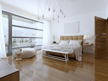 Estilo contemporáneo del dormitorio brillante fotografía de archivo