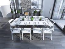 Estilo contemporâneo da sala de jantar Imagem de Stock Royalty Free
