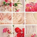 Estilo cor-de-rosa bonito da colagem do casamento Foto de Stock