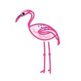 Estilo cor-de-rosa do esboço da garatuja do flamingo isolado no branco Fotos de Stock Royalty Free