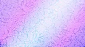 Estilo cor-de-rosa e azul do vintage de Rose Floral Pattern Background Texture para o material da mobília fotografia de stock