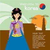 Estilo coreano tradicional Mujer en vestido nacional libre illustration