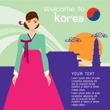 Estilo coreano tradicional Mujer en vestido nacional ilustración del vector