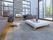 Estilo da alto-tecnologia da sala da sala de estar Imagem de Stock Royalty Free