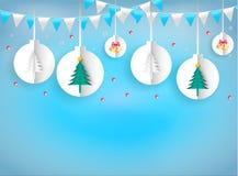 Estilo da arte do papel da ilustração da corda de suspensão dos ornamento do Natal ilustração royalty free