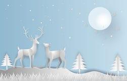 Estilo da arte do papel da ilustração da estação do inverno e bonito de r ilustração stock