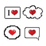 Estilo da arte dos pixéis da bolha do discurso do amor Imagem de Stock Royalty Free