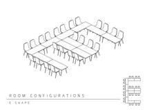 Estilo da forma da configuração E da disposição da instalação da sala de reunião Fotografia de Stock