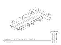 Estilo da forma da configuração T da disposição da instalação da sala de reunião Imagem de Stock