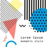 Estilo da forma 80s ou 90s retro do vintage Cartões de Memphis Elementos geométricos na moda Cartaz abstrato moderno do projeto,  Imagem de Stock