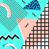 Estilo da forma 80s ou 90s retro do vintage Cartões de Memphis Elementos geométricos na moda Cartaz abstrato moderno do projeto,  Imagem de Stock Royalty Free