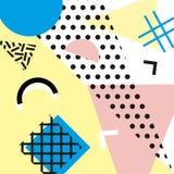 Estilo da forma 80s ou 90s retro do vintage Cartões de Memphis Elementos geométricos na moda Cartaz abstrato moderno do projeto,  Imagens de Stock