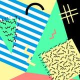 Estilo da forma 80s ou 90s retro do vintage Cartões de Memphis Elementos geométricos na moda Cartaz abstrato moderno do projeto,  Fotografia de Stock Royalty Free