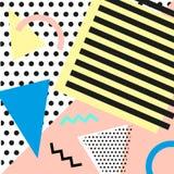 Estilo da forma 80s ou 90s retro do vintage Cartões de Memphis Elementos geométricos na moda Cartaz abstrato moderno do projeto,  Foto de Stock