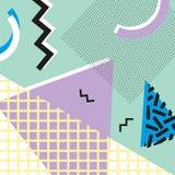 Estilo da forma 80s ou 90s retro do vintage Cartões de Memphis Elementos geométricos na moda Cartaz abstrato moderno do projeto,  Foto de Stock Royalty Free