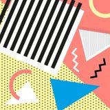 Estilo da forma 80s ou 90s retro do vintage Cartões de Memphis Elementos geométricos na moda Cartaz abstrato moderno do projeto,  Imagens de Stock Royalty Free