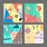 Estilo da forma 80s ou 90s retro do vintage Cartões de Memphis Jogo grande Elementos geométricos na moda Cartaz abstrato moderno  Imagem de Stock Royalty Free