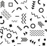 Estilo da forma 80s ou 90s retro do vintage Teste padrão sem emenda de Memphis Elementos geométricos na moda Projeto abstrato mod Imagens de Stock