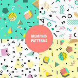 Estilo da forma 80s ou 90s retro do vintage Teste padrão sem emenda de Memphis Elementos geométricos na moda Projeto abstrato mod Fotografia de Stock Royalty Free