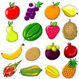 Estilo da garatuja dos frutos frescos Imagens de Stock Royalty Free