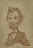 Estilo da gravura da caricatura do sepia de Abraham Lincoln Fotografia de Stock Royalty Free