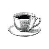 Estilo da gravura do desenho da mão do copo de café Estilo do atique do copo de café Fotografia de Stock Royalty Free