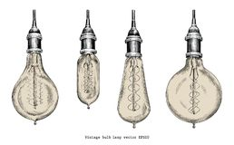 Estilo da gravura do desenho da mão da lâmpada do bulbo do vintage ilustração royalty free