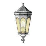 Estilo da gravura do desenho da mão da lâmpada da estrada do vintage Fotografia de Stock Royalty Free